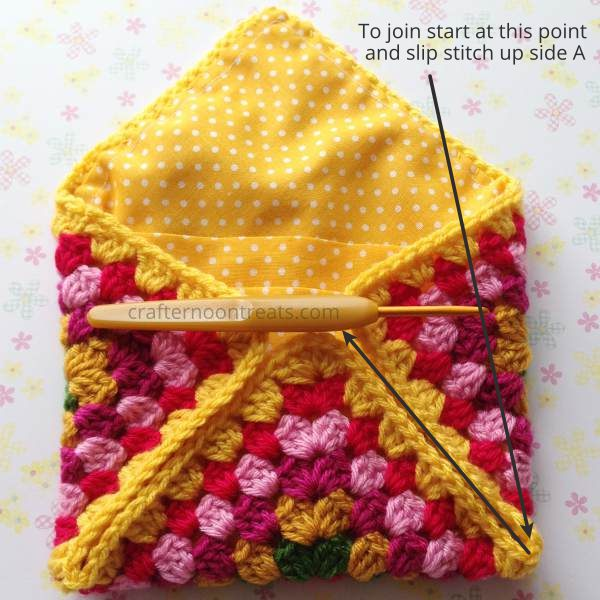 Bring the corners to the centre crochet envelope bag - free tutorial crafternoontreats.com