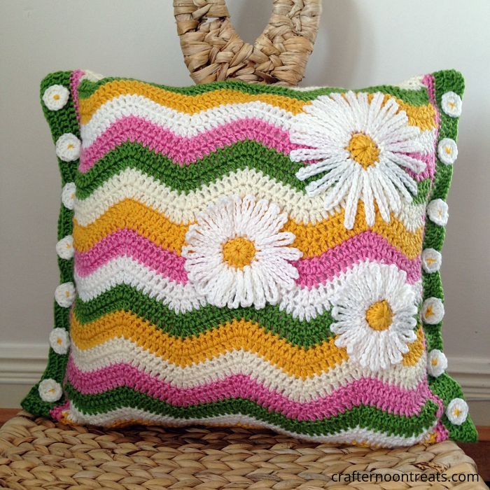 Summer ripple cushion with daisy buttons and applique