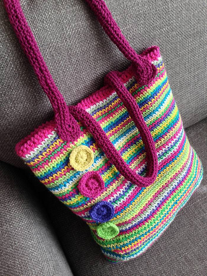 Crochet Rainbow Bag : Rainbow tote: Bagalong quick start guide Crafternoon Treats