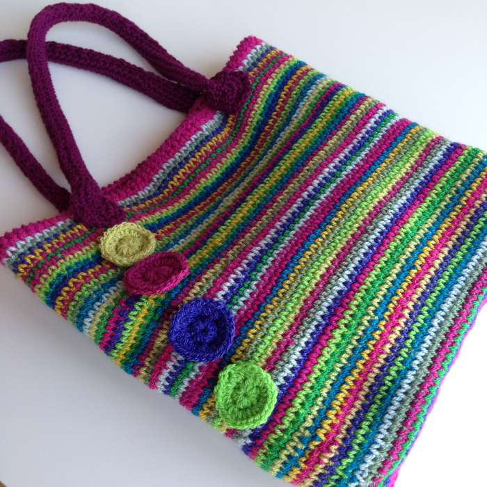 Rainbow crochet tote Stylecraft rosette position
