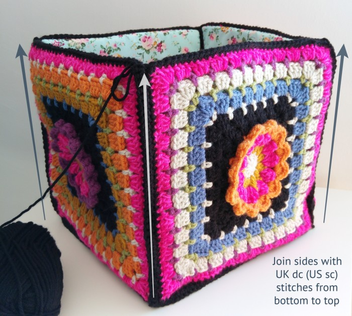 Frida's Flowers project bag 2016 Stylecraft Crafternoon Treats Crochet Along Bag assembly