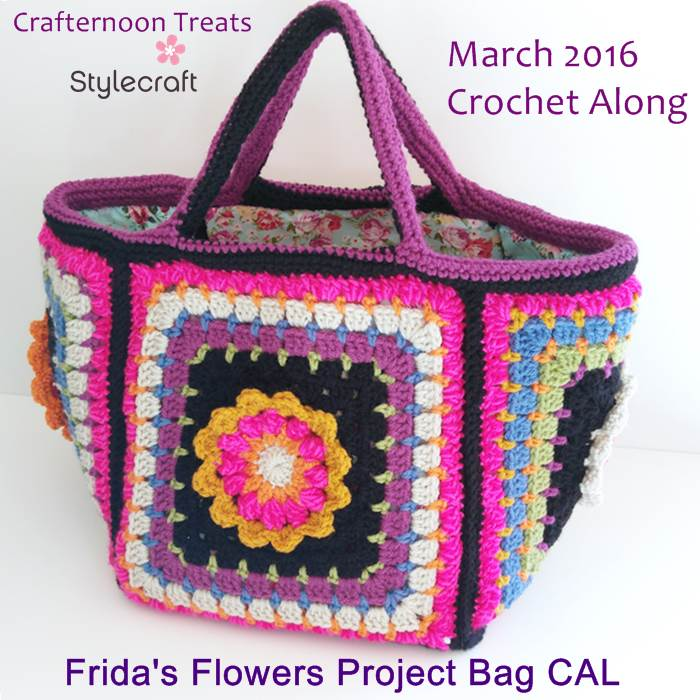 Fridas Flowers project bag Crafternoon Treats Stylecraft CAL 2016 bag stash bag CAL logo
